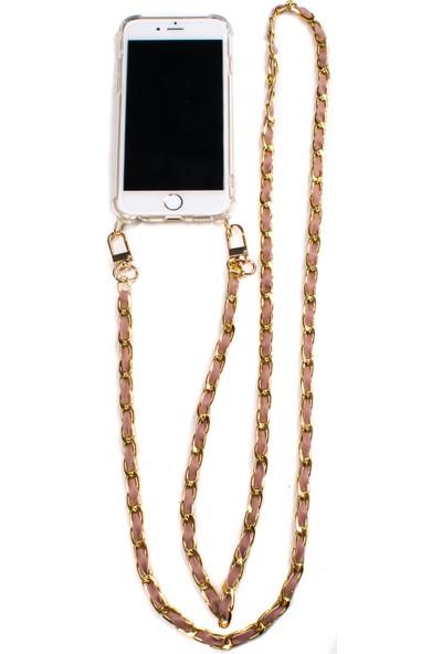 Mymecans Huawei P30 Pro Gold Zincir ve Deri Detaylı Askılı Cep Telefonu Kılıfı - Rose Gold