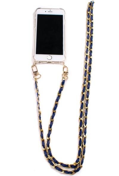 Mymecans iPhone 7 Plus/iPhone 8 Plus Gold Zincir ve Deri Detaylı Askılı Cep Telefonu Kılıfı - Lacivert