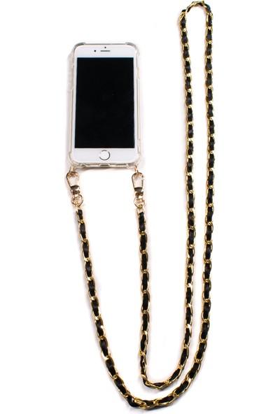 Mymecans iPhone 7 Plus/iPhone 8 Plus Gold Zincir ve Deri Detaylı Askılı Cep Telefonu Kılıfı - Siyah