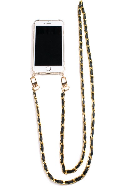 Mymecans iPhone 7/iPhone 8 Gold Zincir ve Deri Detaylı Askılı Cep Telefonu Kılıfı - Yeşil