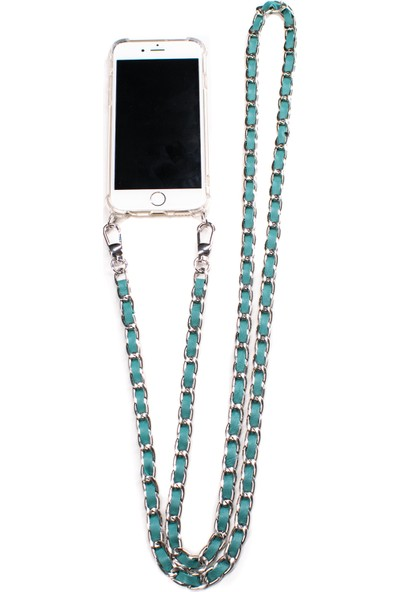Mymecans iPhone 7/iPhone 8 Silver Zincir ve Deri Detaylı Askılı Cep Telefonu Kılıfı - Turkuaz
