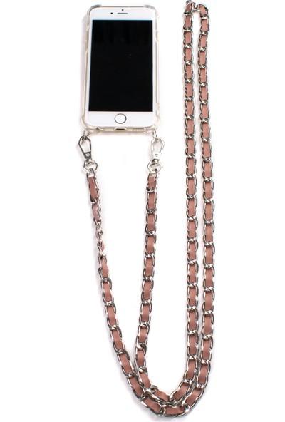 Mymecans iPhone X/iPhone Xs Silver Zincir ve Deri Detaylı Askılı Cep Telefonu Kılıfı - Rose Gold