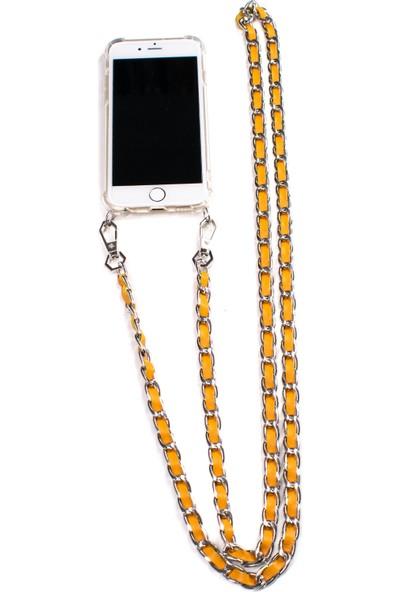 Mymecans iPhone X/iPhone Xs Silver Zincir ve Deri Detaylı Askılı Cep Telefonu Kılıfı - Sarı