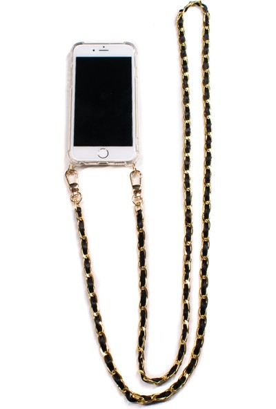 Mymecans Samsung Galaxy Note8 Gold Zincir ve Deri Detaylı Askılı Cep Telefonu Kılıfı - Siyah