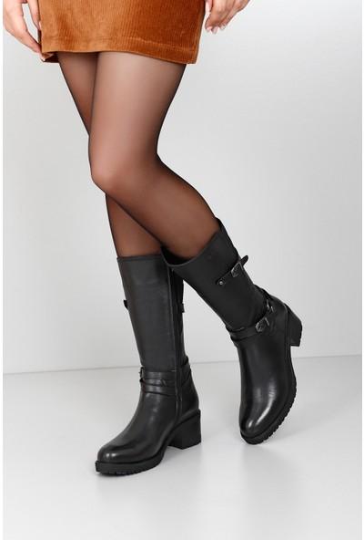 Gön Hakiki Deri Kadın Çizme 44560 Siyah