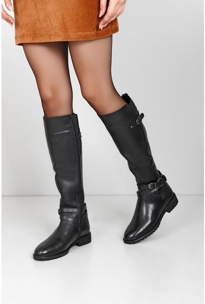Gön Hakiki Deri Kadın Çizme 64810 Siyah