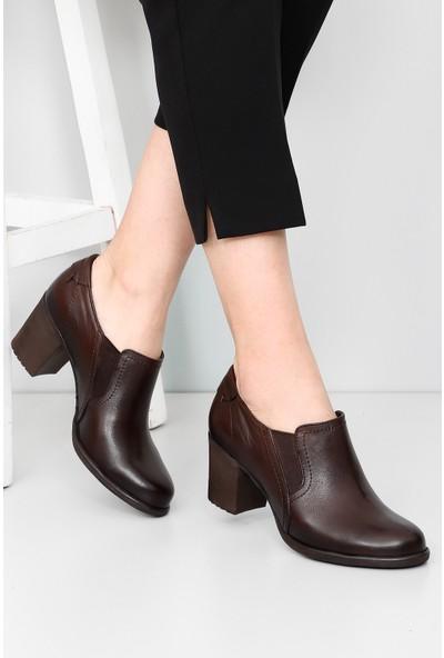 Gön Hakiki Deri Kadın Ayakkabı 24038 Kahve Antik