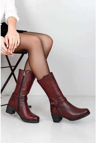 Gön Hakiki Deri Kadın Çizme 44559 Bordo Antik