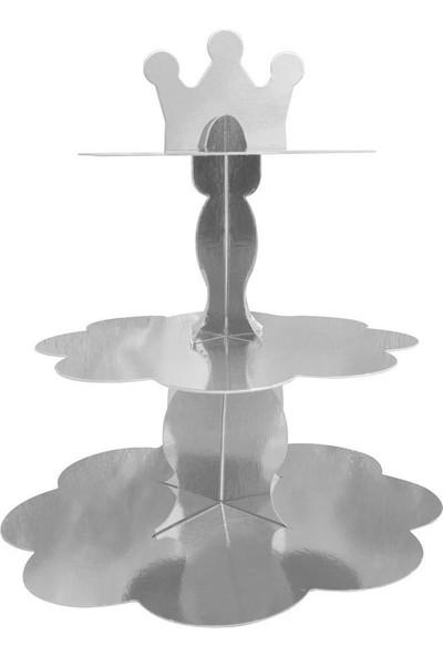 PartiPan Gümüş Metalik Cupcake Standı