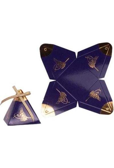 PartiPan Piramit Lokumluk Altın Varaklı Lacivert 50'li