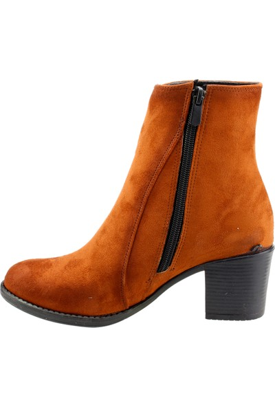 Ayakland 8422-2011 Günlük 6 cm Topuk Termo Kadın Bot Süet Ayakkabı Taba