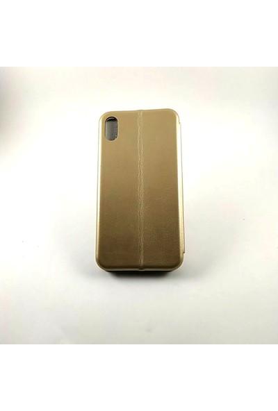 Arma Apple iPhone X Max Kapaklı Kılıf + Ekran Koruyucu Kırılmaz Cam - Gold