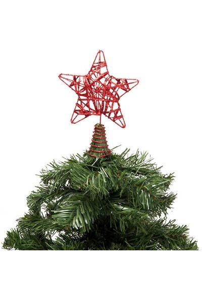 Bir Hayat Grup Yılbaşı Çam Ağacı Kırmızı Simli Tepe Yıldızı