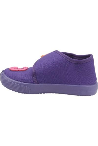 Sanbe 106P104 Okul Kreş Kız/erkek Çocuk Keten Panduf Ayakkabı Mor
