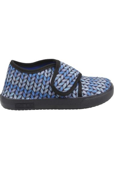 Sanbe 106P123 Okul Kreş Kız Çocuk Keten Panduf Ayakkabı Mavi
