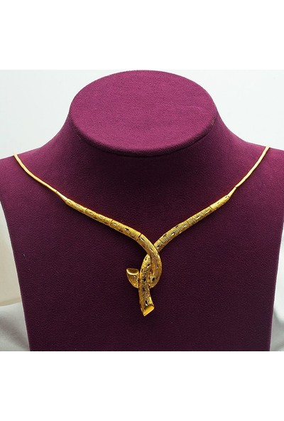 Label Jewelry Ağaç Kabuğu 22 Ayar Taşsız Altın Set