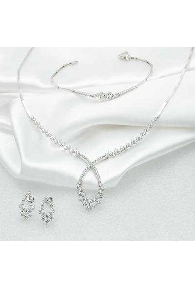 Label Jewelry Taşlı 14 Ayar Beyaz Altın Set Takımı