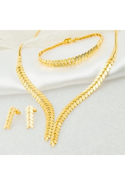 Label Jewelry Taşsız Balık Sırtı 22 Ayar Altın Takı Seti