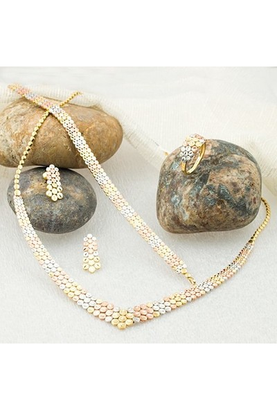 Label Jewelry Üç Renkli 14 Ayar Taşsız Altın Takı Seti