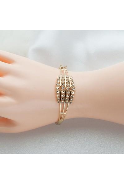Label Jewelry Yıldızlı 14 Ayar Altın Kelepçe Bilezik