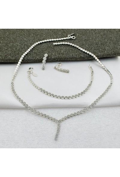 Label Jewelry Yıldızlı 14 Ayar Beyaz Altın Takı Seti