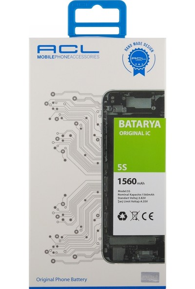 ACL Apple iPhone 5s İçin NT-28871 AA Kalite 1560 mAh Batarya