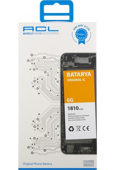 ACL Apple iPhone 6 İçin NT-28869 AA Kalite 1800 mAh Batarya
