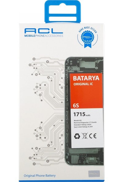 ACL Apple iPhone 6s İçin NT-28870 AA Kalite 1715 mAh Batarya