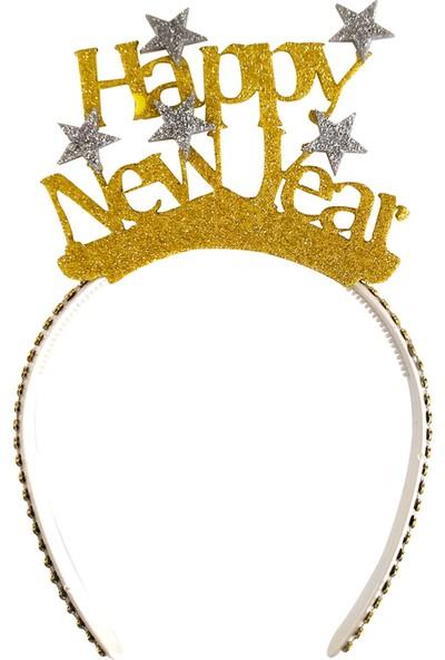 Kullan At Market Happy New Year Gümüş Yıldızlar Altın Simli Eva Taç 1 Adet