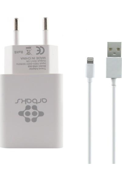 Arbaks ARB-003 Plastik 1500 mAh 1 Çıkışlı + Lightning Data Kablo Ev Tipi Şarj Cihazı
