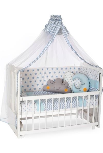 Heyner Ahşap Lake Beyaz Renk Anne Yanı Beşik 3 Kademeli Sallanan Ahşap Beşik 60 x 120 cm - Mavi Yıldız Uyku Setli & Soft Ortopedik Yataklı