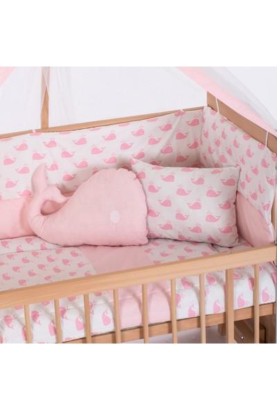 Heyner Ahşap Organik Beşik Anne Yanı Beşik 3 Kademeli Lüx Bebek Beşiği 60 x 120 cm - Pembe Balina Uyku Setli & Soft Yataklı