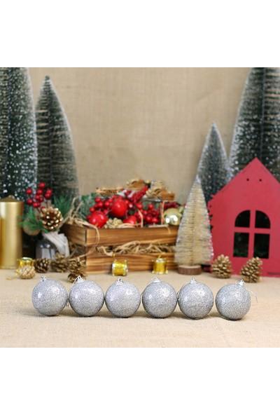 Kullan At Market Yılbaşı Ağacı Gümüş Simli Top Süs 6cm 6lı
