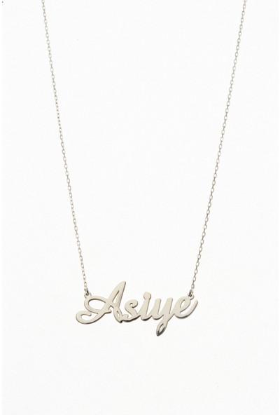 Ayyıldız Jewelry 925 Ayar Gümüş Kişiye Özel Gümüş Rengi Isim Yazılı Kolye Taşsız