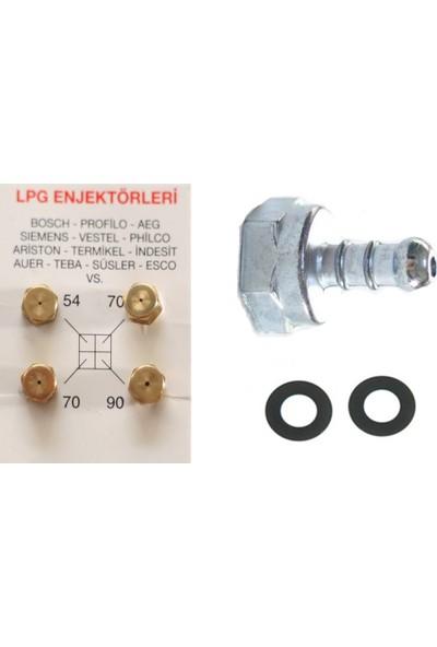Umut LPG Ocak Memesi Enjektör 4'lü Set ve Dik Pipo Conta
