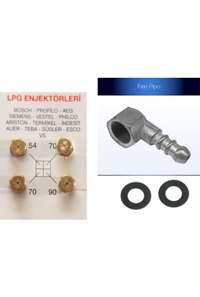 Umut LPG Ocak Memesi Enjektör 4'lü Set ve Yan Pipo Conta