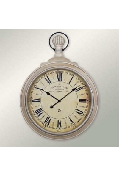 Ultima Regal Retro Ahşap Eskitme Roma Tasarım Duvar Saati Beyaz