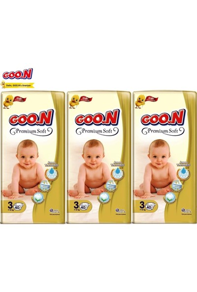 Goon Premium Soft Jumbo Paket 3'lü Set 3 Beden 120 Adet