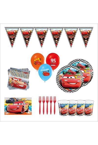Bayhesaplı Şimşek Mcqueen Cars Arabalar Doğum Günü Parti Seti 24 Kişilik