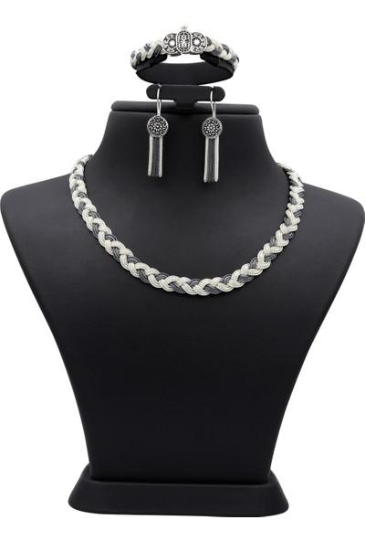 Akyüz Gümüş Örgülü Mardin Hasırı El Işi Gümüş Set 030