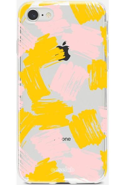 """Caselab Apple iPhone 7 / 8 """"Brushed Yellow Pink"""" Tasarımlı Şeffaf Kılıf"""