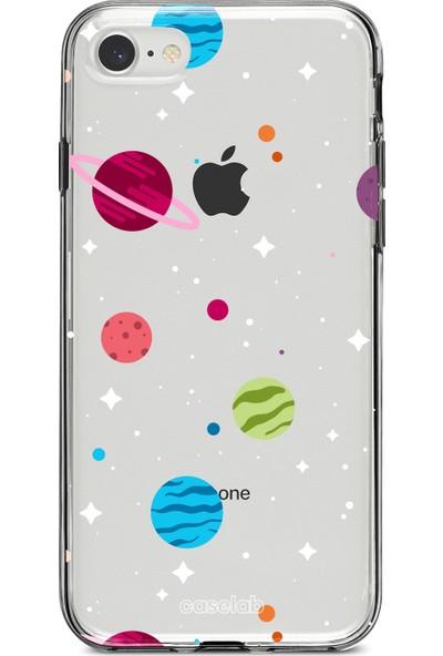 """Caselab Apple iPhone 7 / 8 """"Spaced Planets"""" Tasarımlı Şeffaf Kılıf"""