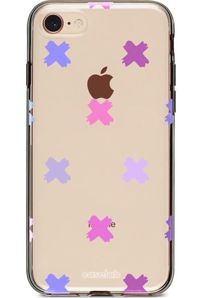 """Caselab Apple iPhone 7 / 8 """"X Colorful"""" Tasarımlı Şeffaf Kılıf"""