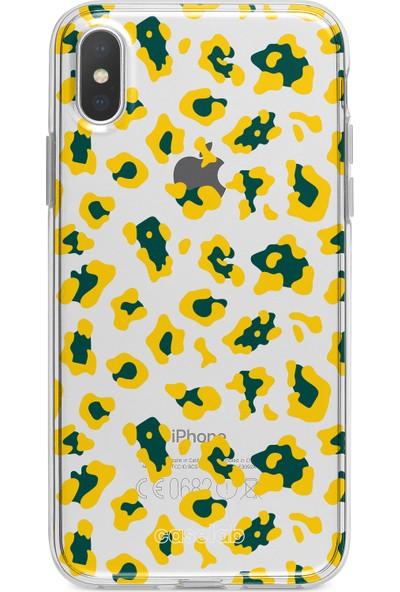 """Caselab Apple iPhone X / XS """"Cheetah Yellow"""" Tasarımlı Şeffaf Kılıf"""