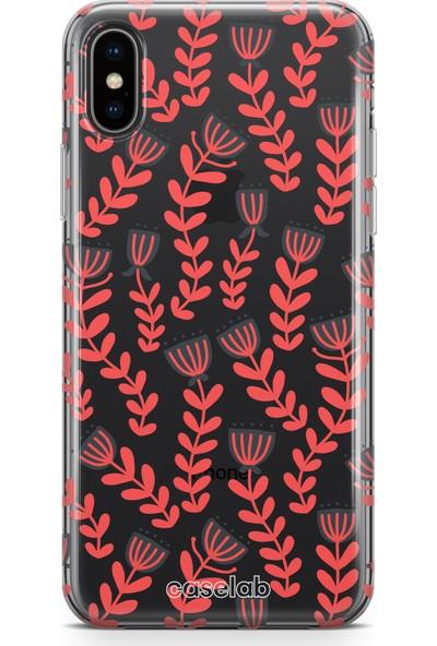 "Caselab Apple iPhone XS Max ""Northern Red Flowers"" Tasarımlı Şeffaf Kılıf"