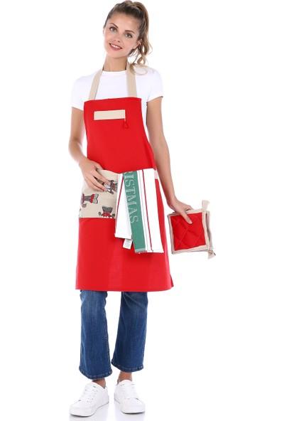 Db Handmade Art & Crafts Mutfak Önlük Takımı- Yenı Yıl