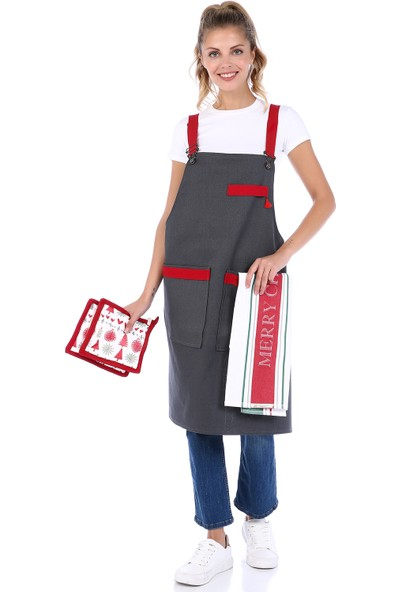Db Handmade Art & Crafts Mutfak Önlük Takımı-New Year
