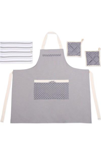Db Handmade Art & Crafts Mutfak Önlük Takımı-Puantiye Detay