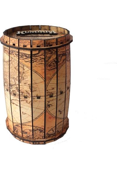 Pratik Dekor Piri Reis Ahşap Fıçı Kumbara Old Map