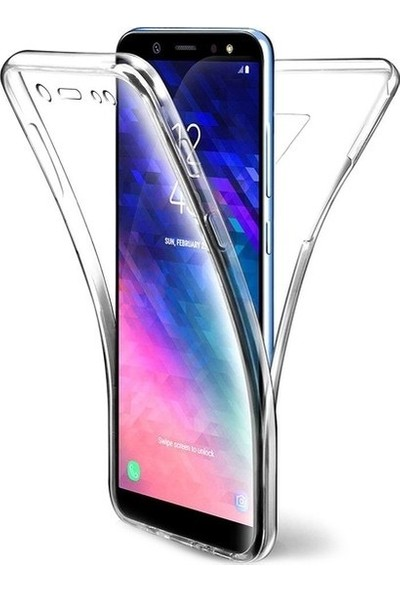 Magazabu Samsung Galaxy A8 2018 Kılıf Şeffaf 360 Derece Tam Kaplayan Silikon